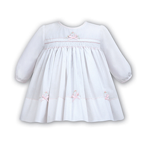 White Dress With Smocking And Bow Detail - Newborn