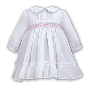 White Dress With Dainty Frilled Collar And Large Frilled Hem- Newborn