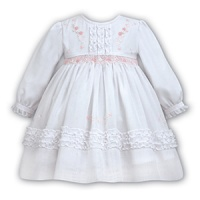 White Dress With Frilled Bodice And Frilled Hem Detail - Newborn